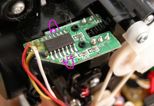 Pink lines show where to short across the pins to get the effect in the recording. There are 4 different wiring options shown here - just choose one!
