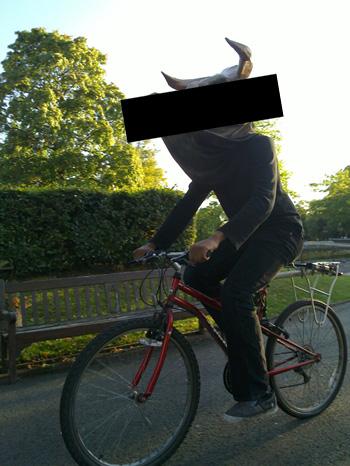 Bull on a bike.