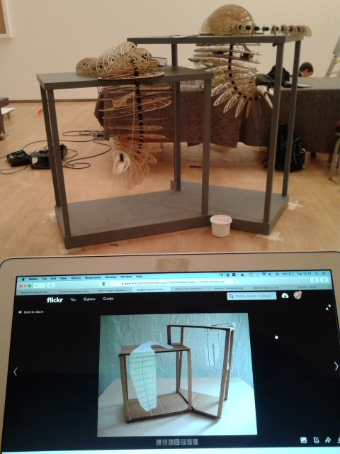 The finished plinth and the cardboard maquette I'd originally made to show what I wanted